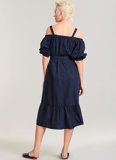 People By Fabrika Fırfır Detaylı Elbise Lacivert